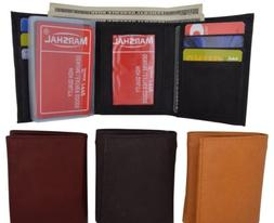 Genuine Leather Mens Trifold Wallet Multi Pocket Card Case W