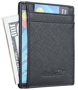 Men Genuine Leather Money Clip Slim Wallet Credit Card Holde
