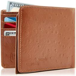 Genuine Leather Slim Bifold Wallets For Men Minimalist Mens