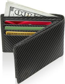 Genuine Leather Slim Bifold Wallets For Men With Flip-Up ID