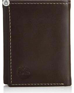 timberland Genuine Leather Trifold Wallet Brown Cloudy