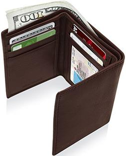Genuine Leather Wallets For Men - Trifold Mens Wallet With I