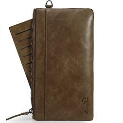 Genuine Leather Zip Around Wallet with Removable Credit Card