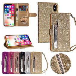 Glitter Bling Leather Zipper Wallet Card Case Cover for iPho