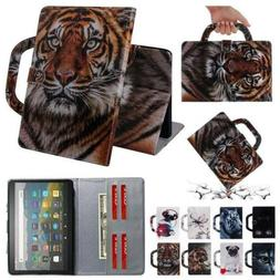 Handle Wallet Leather Case Cover For Amazon Fire HD 8 /HD 8