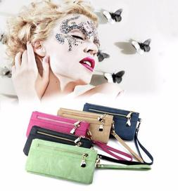 High Capacity Women Wallet With Handle Long Leather Double Z