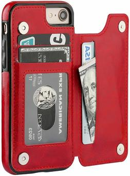 iPhone 7 Plus / 8 Plus Case Leather Card Holder Magnetic Wal