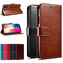 For iPhone X XS XR XS 11 Max 8 Plus PU Leather Wallet Card F
