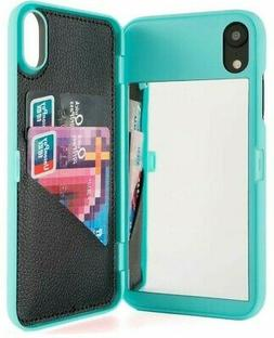For iPhone XR  Teal Blue Hidden Mirror Wallet Case w/ Stand
