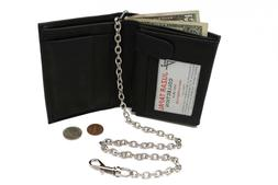 Italian Style Mens leather Bi-fold Chain Wallet with Coin Po