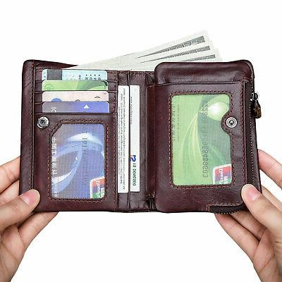 2 in Women Wallet Leather RFID Bifold Coin Purse