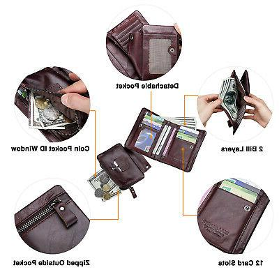 2 in 1 Women Wallet RFID Zip Coin Purse