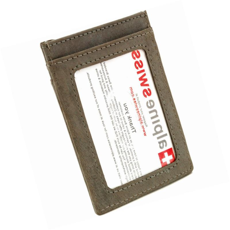AlpineSwiss Mens Leather Clip Wallet ID Case