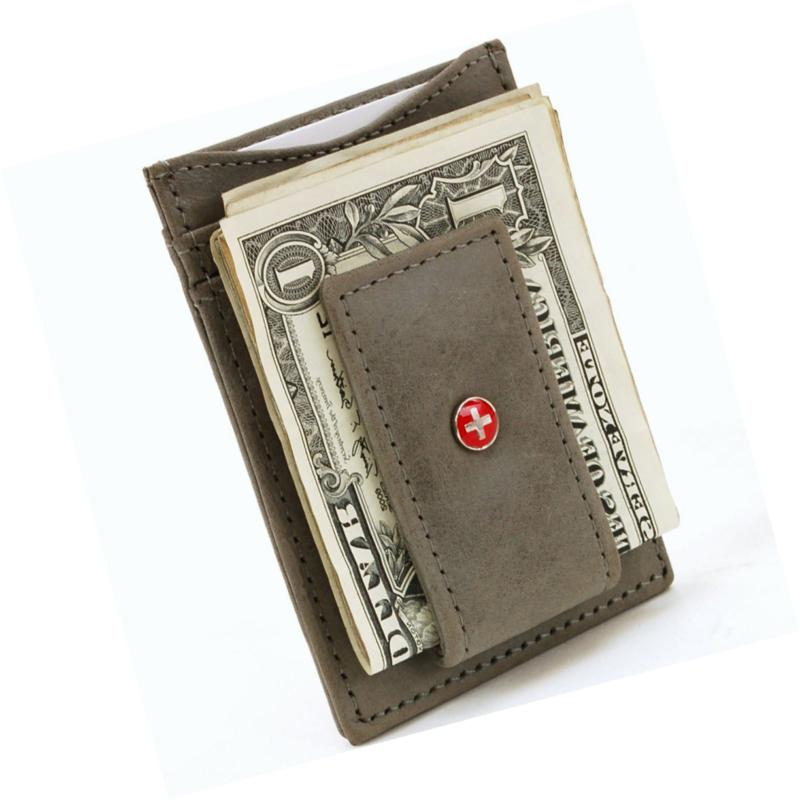 AlpineSwiss Mens Money Clip Front Wallet ID Case