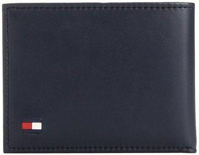 NEW TOMMY HILFIGER BLACK LEATHER PASSCASE CREDIT CARD BILLFO