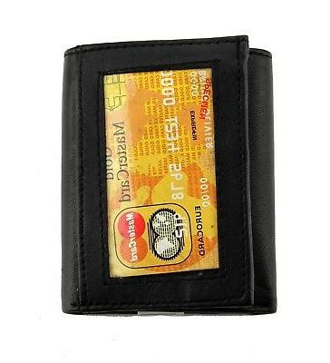 Black Mens Genuine Leather Pockets Holder Credit