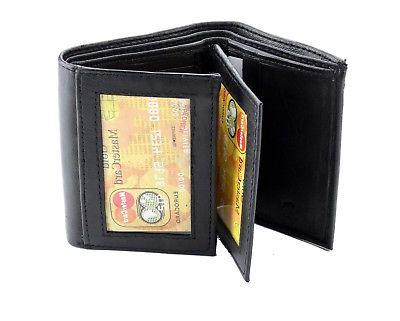 Black Mens Trifold Leather Wallet Pockets Cards