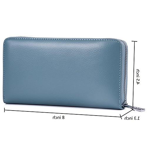 Buvelife Credit Card Wallet Leather Zipper for Women Men, Capacity Credit