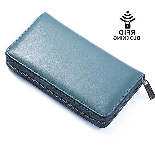 Buvelife Credit Leather RFID Wallet Zipper for Men, Credit Card