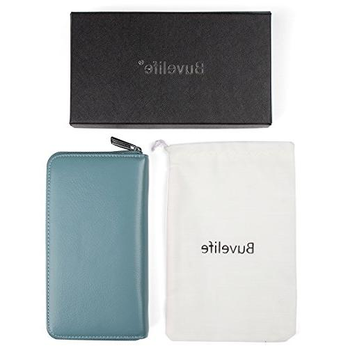 Buvelife Credit Card Leather with Men, Huge Storage Credit