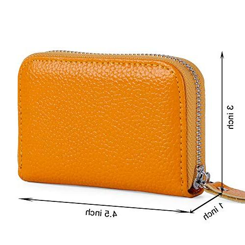 Buvelife Card Wallet Zipper Leather Protector ID Card Window