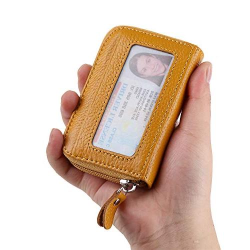 Buvelife Credit Zipper Leather Wallet Protector Card Window