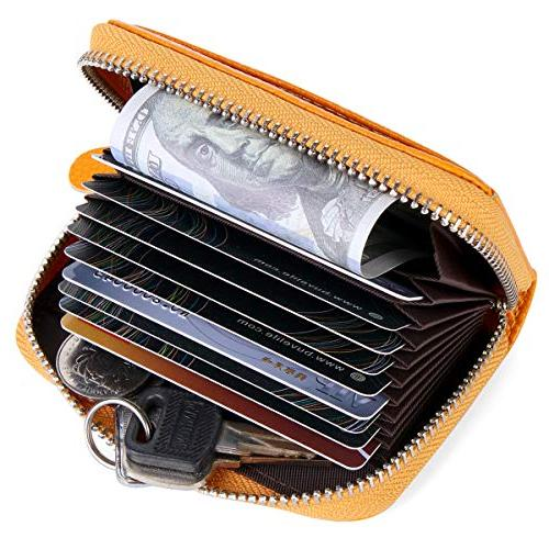 Buvelife Credit Card Zipper Leather RFID Protector
