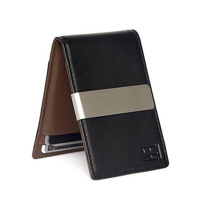 f and h minimalist slim leather wallet