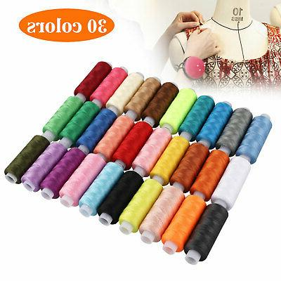 30 Colors 250 Yards Polyester Sewing Thread Spools For Sewin
