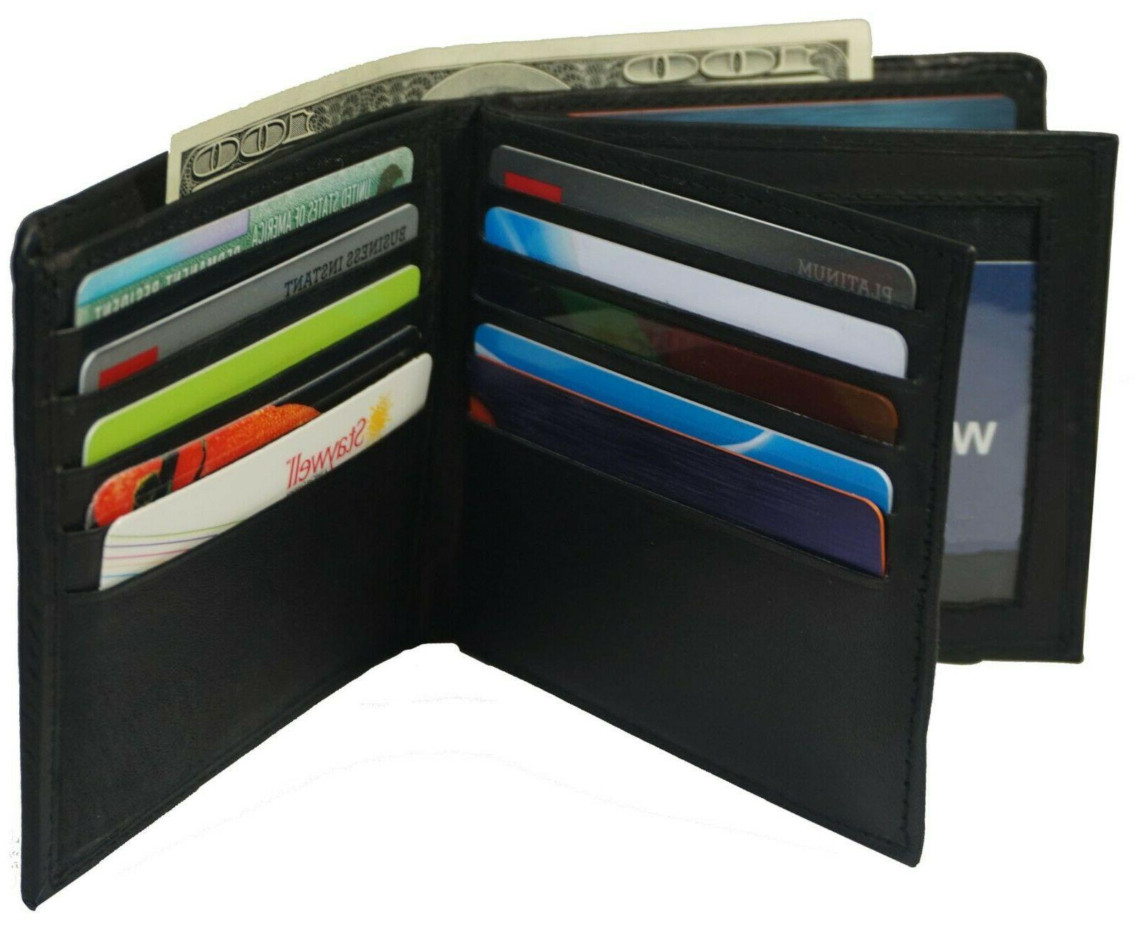 Genuine 2 ID's multi Card Double Flap Popular Black