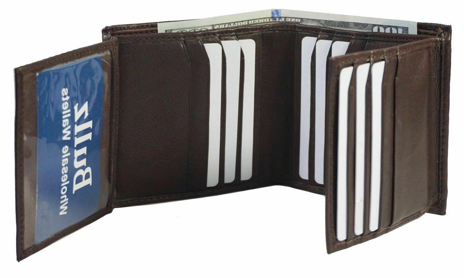 Genuine 2 multi Card Double Flap Wallet Brown