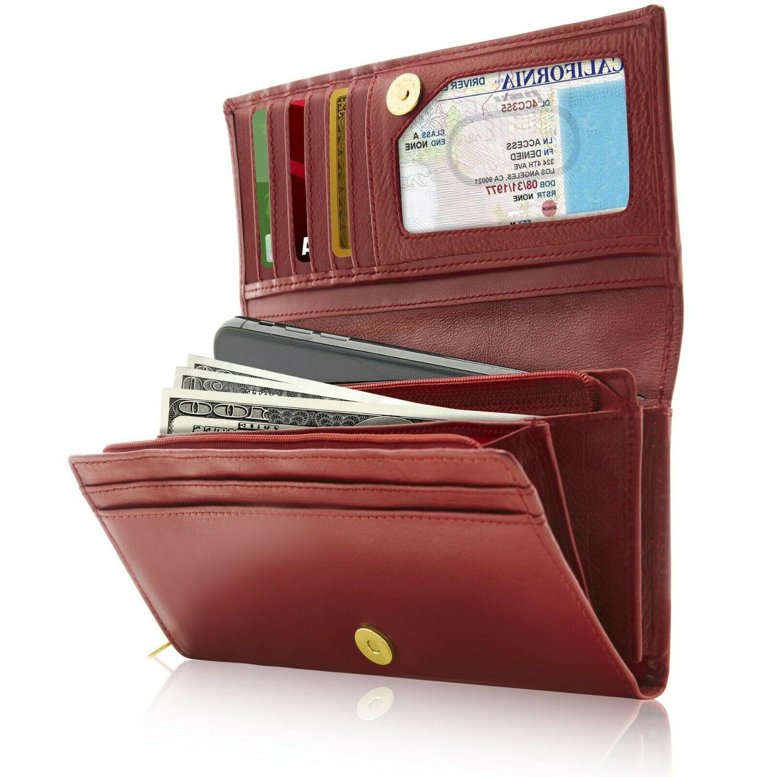 genuine leather wallets for women ladies accordion