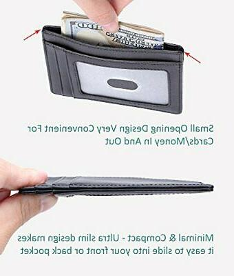 Kinzd Slim Wallet RFID Nappa Leather Credit Card Holder Men/