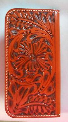 LEATHER WESTERN CELL PHONE CASE IPHONE 8 TAN TOOLED WALLET D