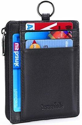 Kinzd Leather Credit Card Holder Wallet ID Keychain Neck Lanyard/St