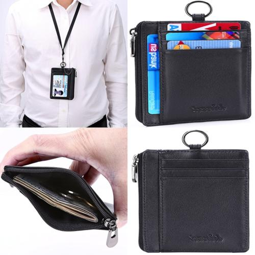 leather zip credit card holder wallet w