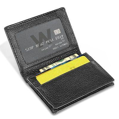 New Men's Genuine Leather Bifold ID Money Black