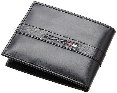 BRAND HILFIGER MEN'S LEATHER WALLET BILLFOLD BLACK 5673-01