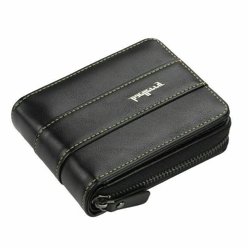Men Leather ID Holder Clutch Bifold Coin