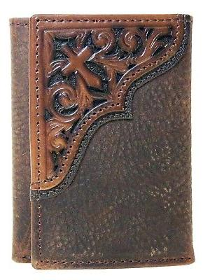 Ariat Men's Cross Corner Inlay Trifold Western Wallet, Brown