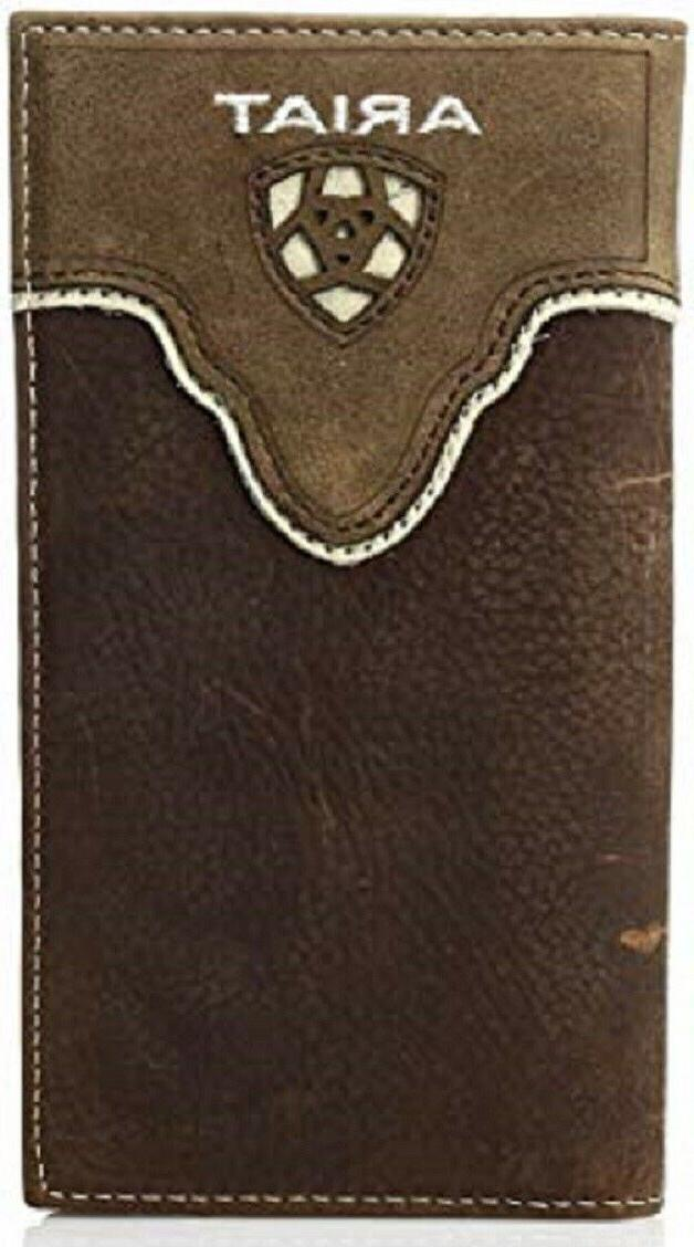 Ariat Men's Distressed Shield Inlay Rodeo Western Wallet, Br