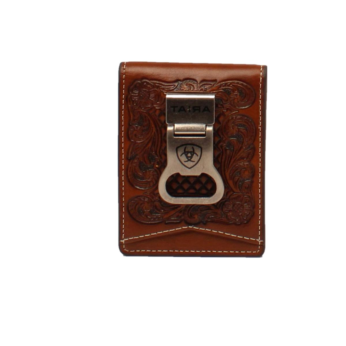 men s floral embossed bifold money clip