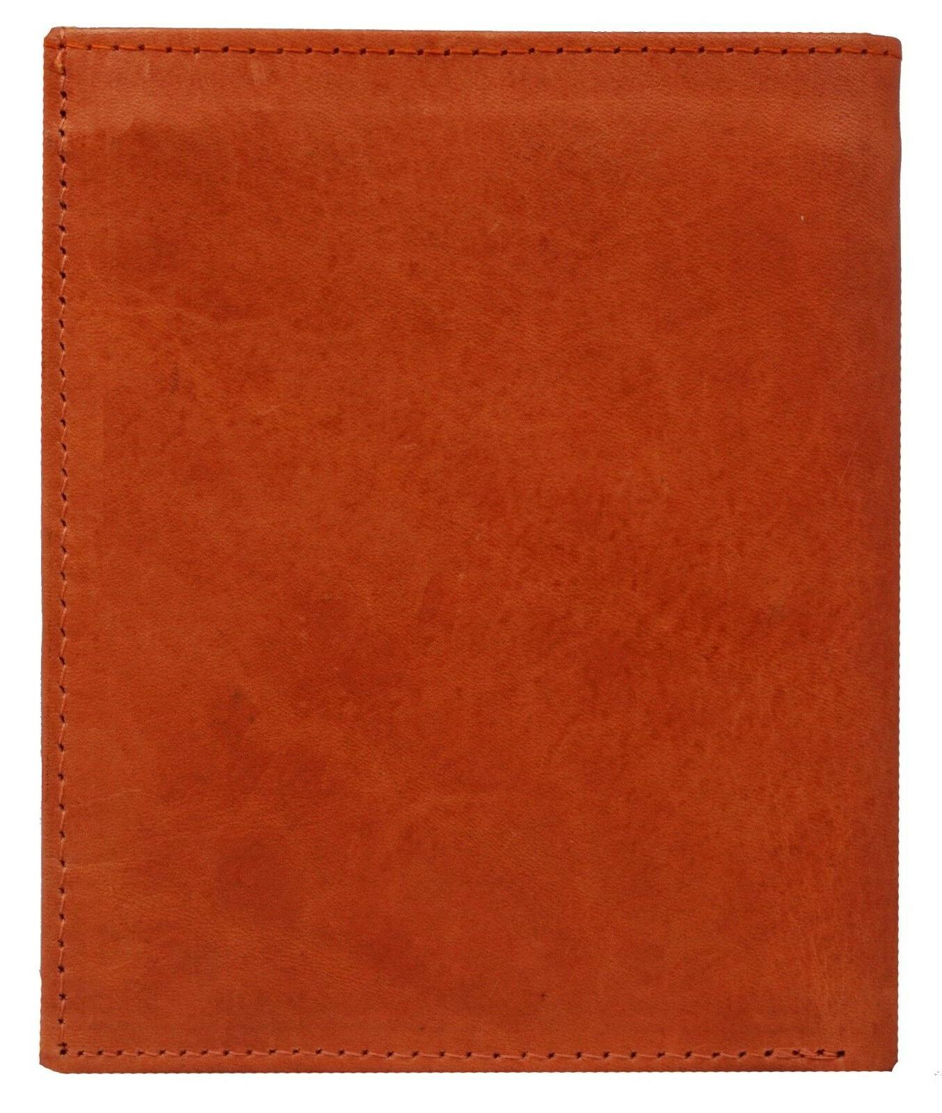 Men's Genuine Leather Wallet Slim Credit and Tan