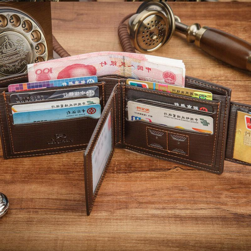 Men's Leather Credit Card Holder Bifold ID Clutch