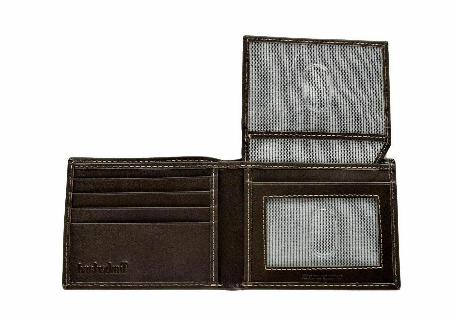 Timberland Leather Wallet with Passcase BROWN OR