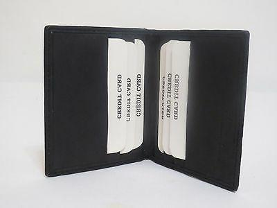 Men's Thin Black Bifold Leather ID Card Holder.