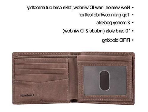 Mens Leather Wallet with ID Window and Blocking -