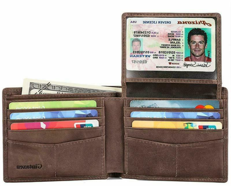 mens genuine leather bifold wallet with 2