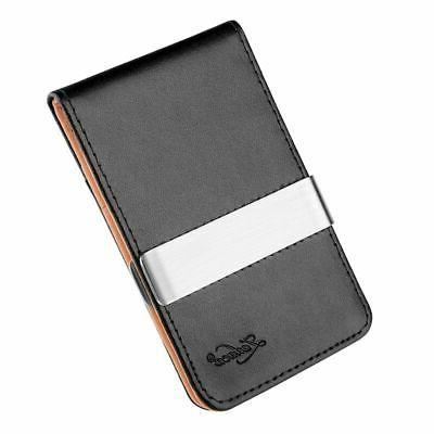 Mens Genuine Money Clip Black Credit Card Holder