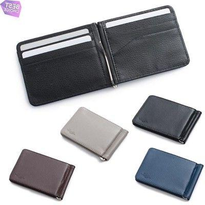 mens thin leather bifold credit card id